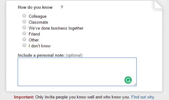 Personal note - Linkedin