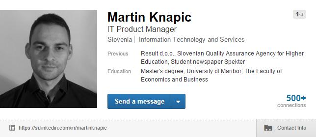Martin Knapic LinkedIn profile