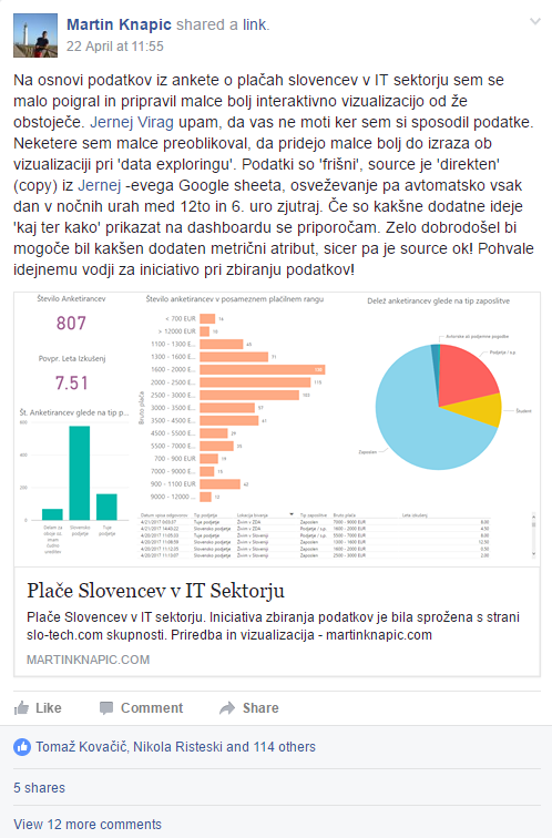 Facebook post - publishing the Power BI visualization about salaries of Slovenians in IT industry